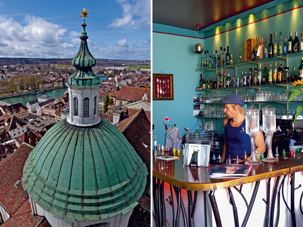 Since its legalisation, cities like Solothurn (left) have seen a spurt of absinthe drinking joints (right). Photo by: Prachi Joshi (bar), Switzerland Tourism (city)