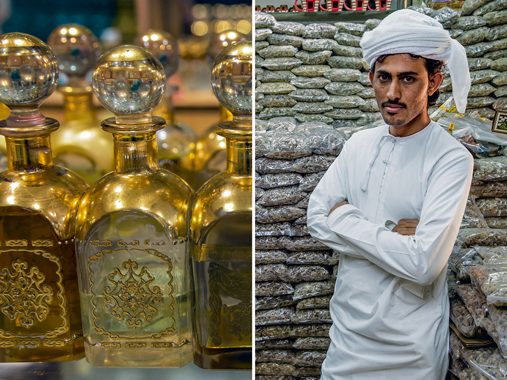 Muscat's Mutrah Souq is packed with big and small shops selling frankincense in all its forms from oudh wood incense to perfumes. Photo by: Eleanor Scriven/Getty Images (PERFUME), Photo by: Edwin Remsberg/Getty Images (man)