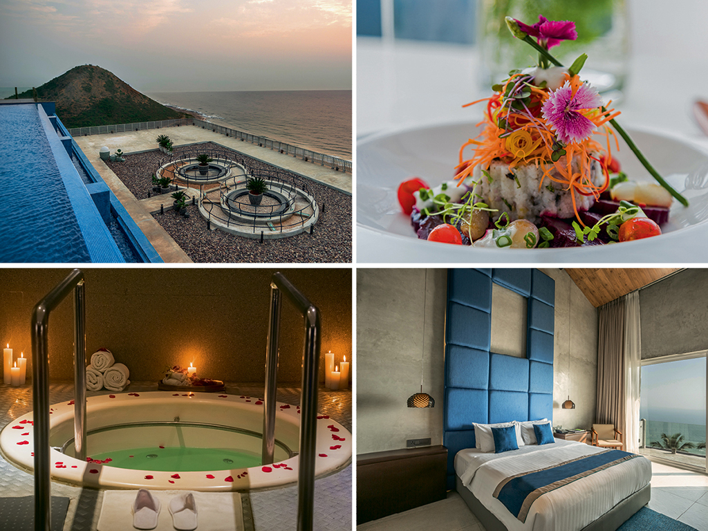 At BayPark, indulgence comes in the form of amenities and food: from the infinity pool overlooking the Bay of Bengal (top left), and a whirlpool in the hydrotherapy area (bottom left) to the spacious suites (bottom right), and delicate flavours like those in the baked beet tagliatta and little millet salad (top right). Photo courtesy: BayPark by Pema Wellness