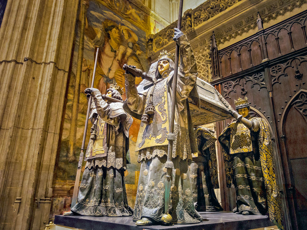 The Tomb of Christopher Columbus is one of the biggest attractions in the Seville Cathedral. Photo by: Imagining Dreams/Getty Images
