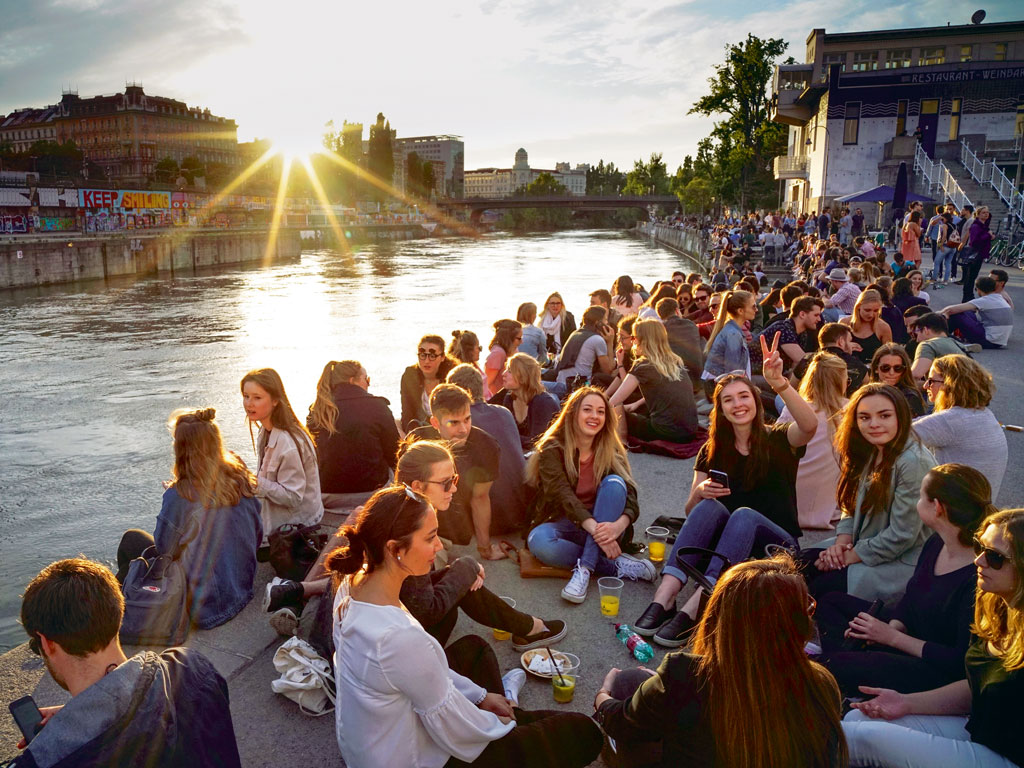 A favourite summer pastime in Vienna is relaxing with a drink or two on the promenade by the Danube Canal. Photo by: Joe Klamar/Staff/Getty Images