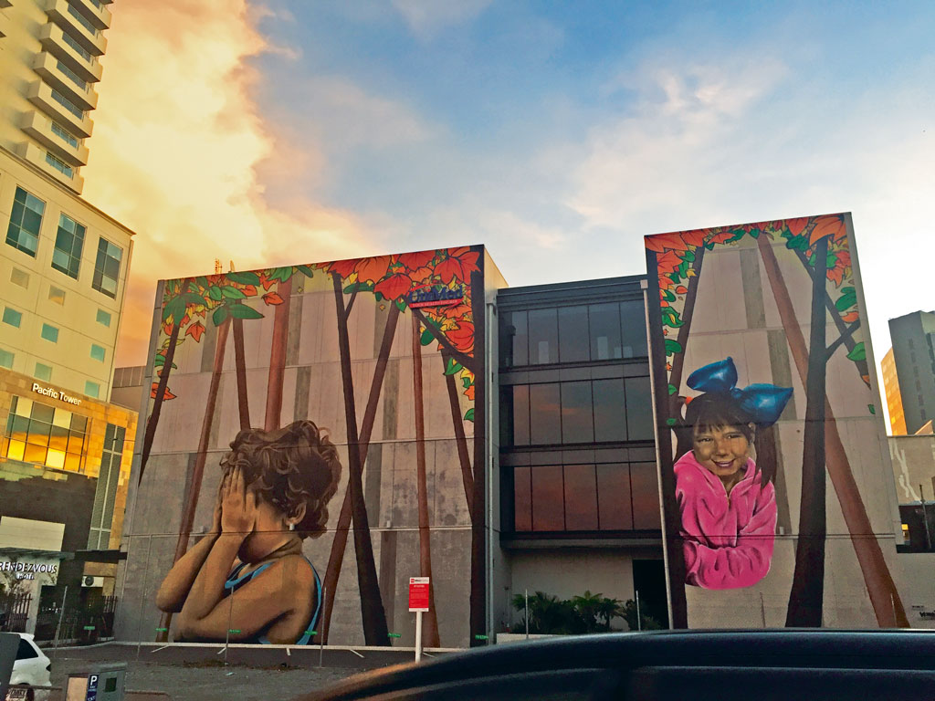 Local artist Wongi Wilson's massive artwork at Manchester Street. Photo by: Kareena Gianani