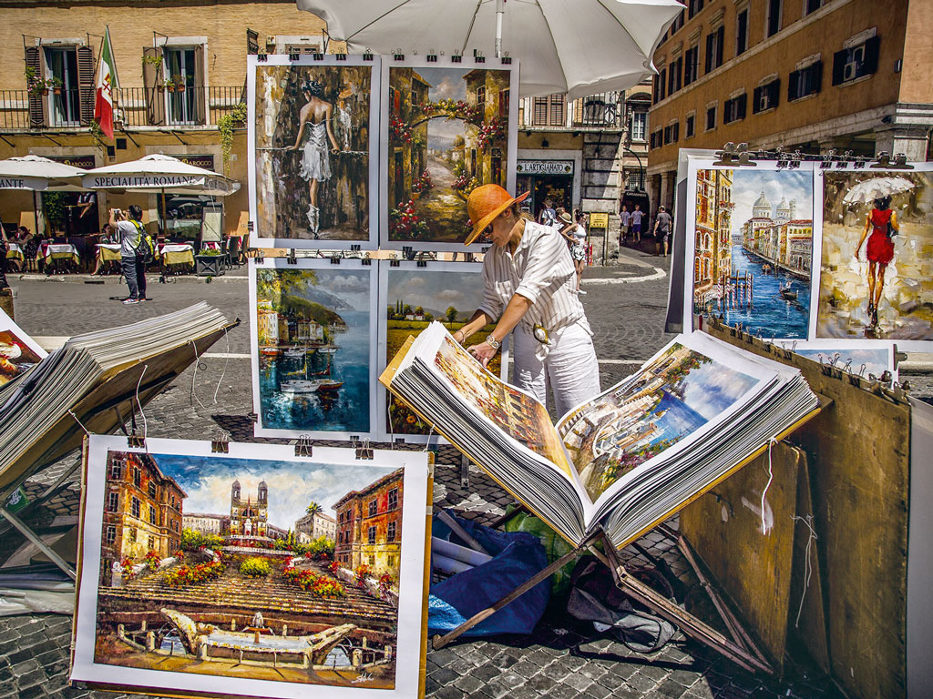 The Piazza Navona hosted the city market for almost 300 years and remains a popular spot for street artists to sell their work. Photo by: Aliye Ugur