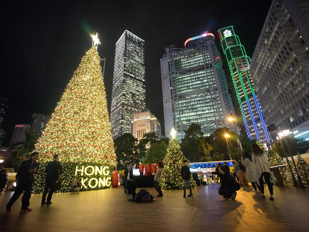 Christmas decorations in Hong Kong. Photo by Pacific Press/Lightrocket/Getty Images.