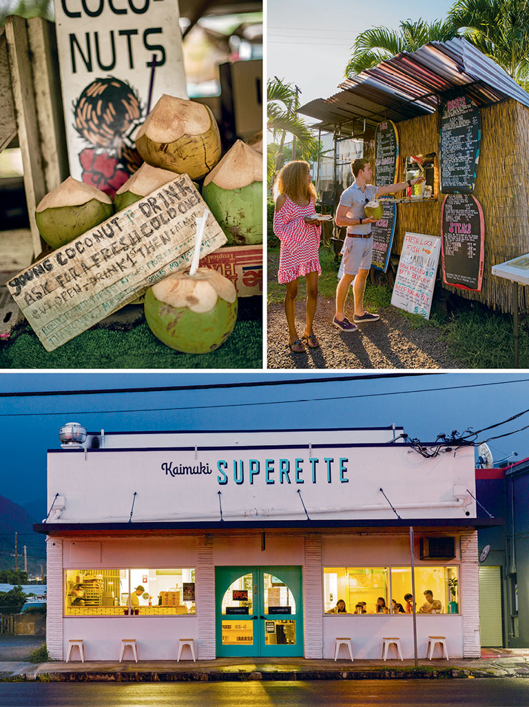 "In Hawaiian 'ono means ""delicious,"" whether a refreshing coconut drink straight from the shell in Kahuku (top left); or GMO-, pesticide-, and preservative-free hot dogs and fish tacos at VJ's North Shore Dogs & Burgers in Haleiwa (top right); or standout breakfasts at Kaimuki Superette, in Honolulu (bottom). Photos by Ryan Moss (coconuts), Erin Kunkel (VJ's food truck, superette)."