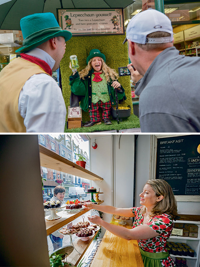 "Inevitably you'll run into a leprechaun. But cultural clichés no longer define Dublin, says the author. ""Dublin is savvy and self-assured enough to absorb them, while also celebrating modern Irishness and creativity."" (top) ; Caryna Camerino of Camerino bakery on Capel Street moved to Dublin from her native Canada. ""I don't know why, but Dublin felt like home,"" she says. ""It just feels like conversations are waiting to happen."" (bottom)"