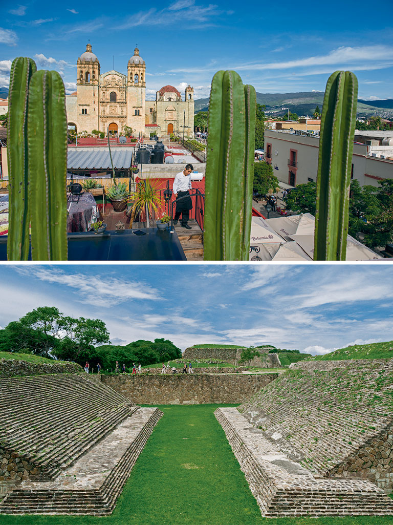 The baroque splendour of Oaxaca City's Templo de Santo Domingo commands the view from Hotel Los Amantes (top). Photo by Adam Wiseman; More than a millennium before the Spaniards arrived, Monte Albán—a 30-minute drive from Oaxaca City—was a flourishing Zapotec centre of open-air markets and precisely aligned temples (bottom). Photo by Atlantide Phototravel.