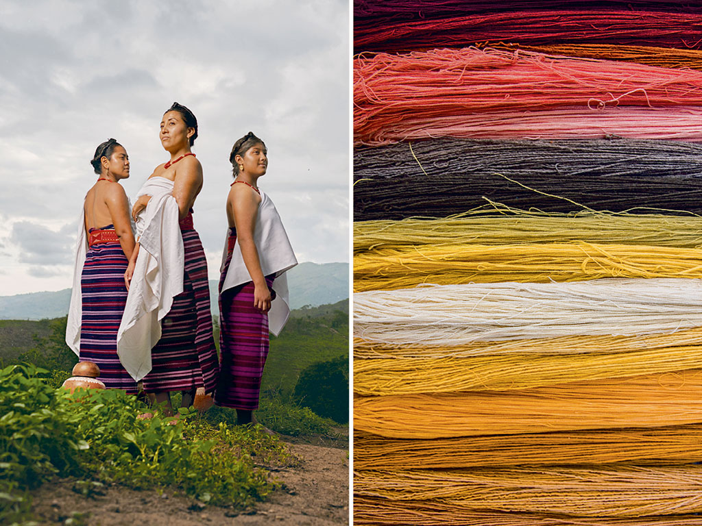 Near Pinotepa Nacional these Mixtec women have added a white huipil to their striped pozahuanco wrap, traditionally worn on its own. Photo by Diego Huerta; Natural sources richly tint strands of yarn. Photo by Adam Wiseman.
