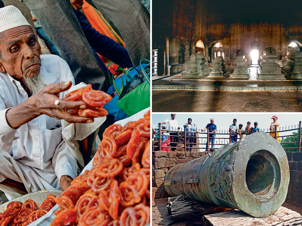 To make the most of Bijapur, start with hot jalebis at the local market (left), take in the tombs of Adil Shah and his family at Ibrahim Rouza (top right), and with the mighty Malik-e-Maidan canon (bottom right). Photos By Bennett Dean/Eye Ubiquitous/Passage/Getty Images (jalebis), Satish Parashar/Dinodia Photo/Dinodia Photo Library (tombs), Aravind Chandramohanan/Alamy/Indiapicture (canon).