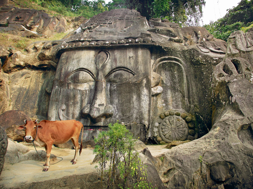 At first glance, the main bas-relief of Unakoti looks like that of Buddha, with elongated earlobes. However, this cynosure of the site is actually a rendition of Shiva. Photo by: Timothy Allen/axiom photographic agency/Getty Images