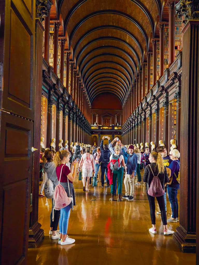 "Most visitors to Trinity College make a beeline for the Old Library and the celebrated Book of Kells, an intricately illuminated gospel completed by A.D. 800. But don't miss the college's Science Gallery with its brain-expanding exhibitions and cool café. The popular Temple Bar pub anchors the namesake district, which the author says is ""a bit like a tiny Times Square."""