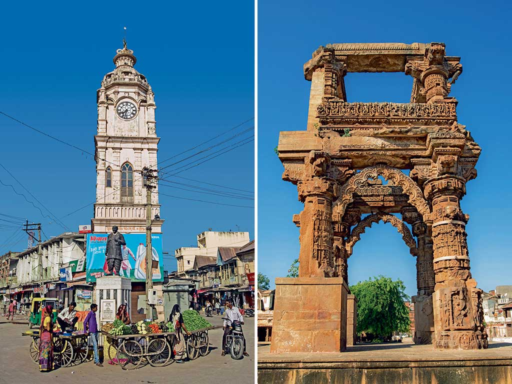Sidhpur is a delightful time warp: the clock tower (left) presides over the local marketplace, archways soar over ruins of the 12th-century Rudra Mahalaya Mandir (right).