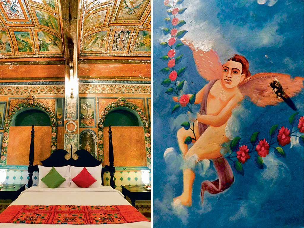 The hotel's rooms (left) often remind one of the Sistine Chapel in Rome, with its sumptuous ceiling frescoes. One of the frescoes in the bathroom antechamber ceiling (right) was that of an adorable angel fresco. Photos by: Zac O'Yeah