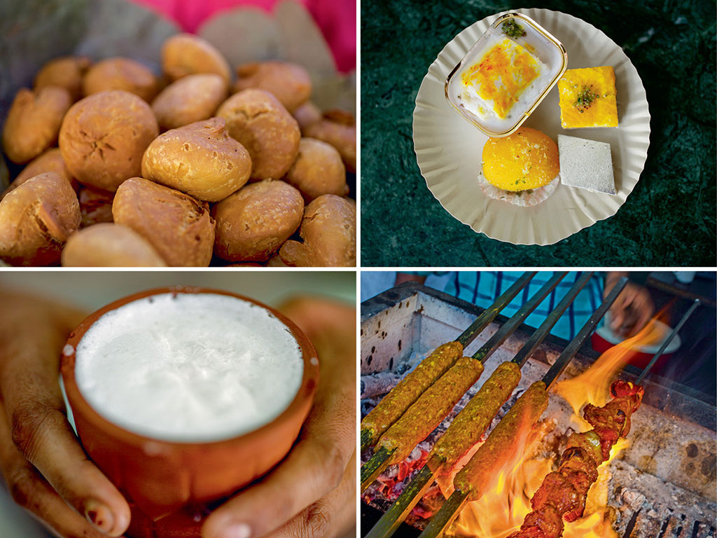 Clockwise from top: In addition to stuffed kachoris, Tewari Brothers is also the place for some lip-smacking chaat; Shyam sweets sells an array of mithai, including badam pinni, Jodhpuri laddu, and sohan papdi; Every night, aromas of the most succulent mutton burra, seekh, and boti kebabs waft around Jama Masjid; At Chawri Bazaar, lassi served in a kulhad offsets the heaviest meals had in its alleys.