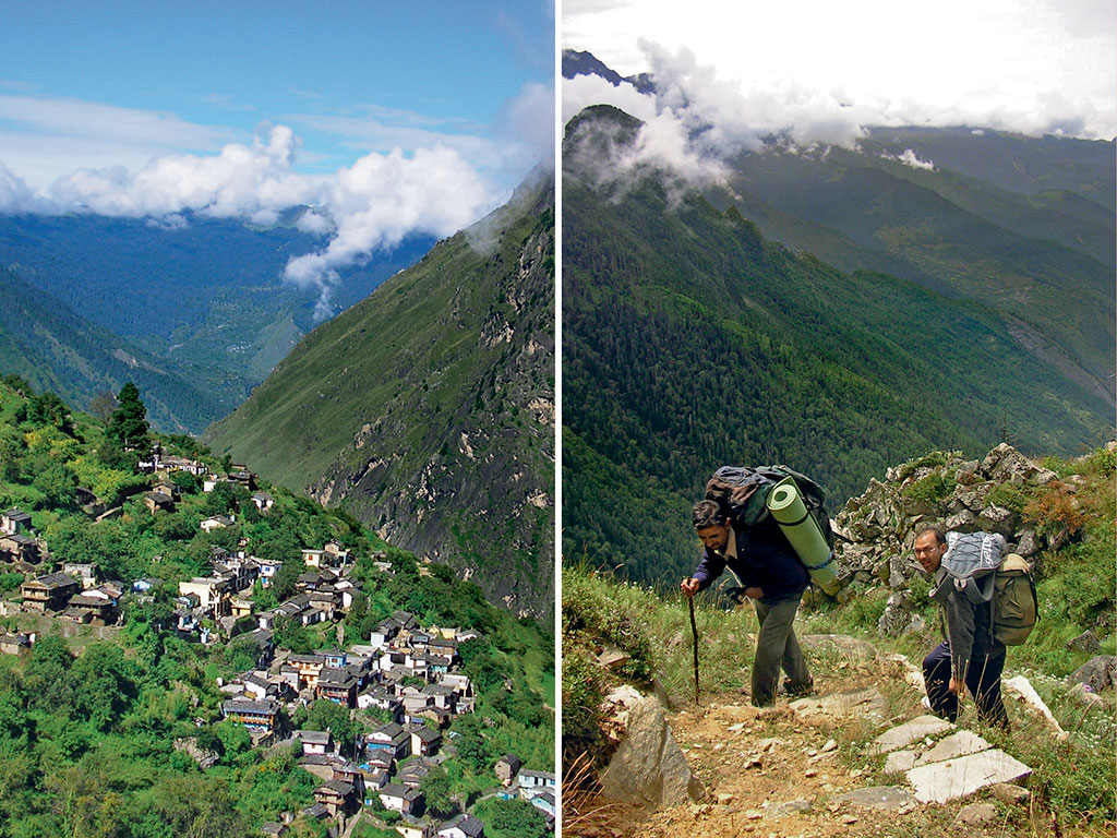 The trail starting from the Bhotiya village of Lata (left) is dotted with deodar, rhododendron and pine forests. Porters make their way up to the high-altitude meadow of Lata Kharak (right). Photos by: Bibek Bhattacharya