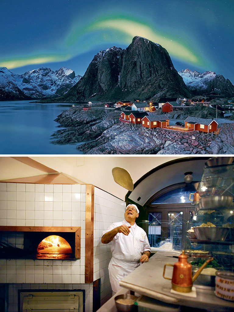 Northern Lights (top) paint Lofoten's sky neon green. Acclaimed pizza chef, Pepe Mazza (bottom), flings a dough disc inside a Naples pizzeria. Photos by: mariuskasteckas/RooM/Getty Images (northern lights), Christopher Furlong/Staff/Getty Images News/Getty Images (chef)