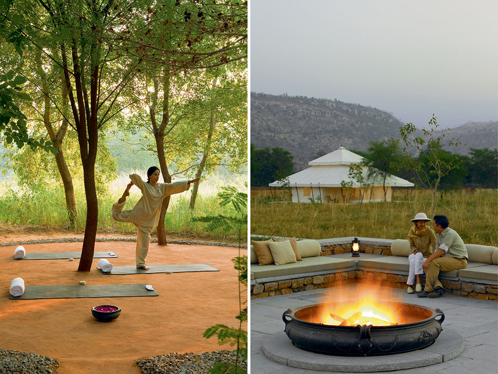 While mornings at the resort often begin with yoga (left) or a wildlife safari in Ranthambore, evenings are for sipping wine by the bonfire (right) and one-upping each other's tiger tales. Photos Courtesy: Aman Resorts