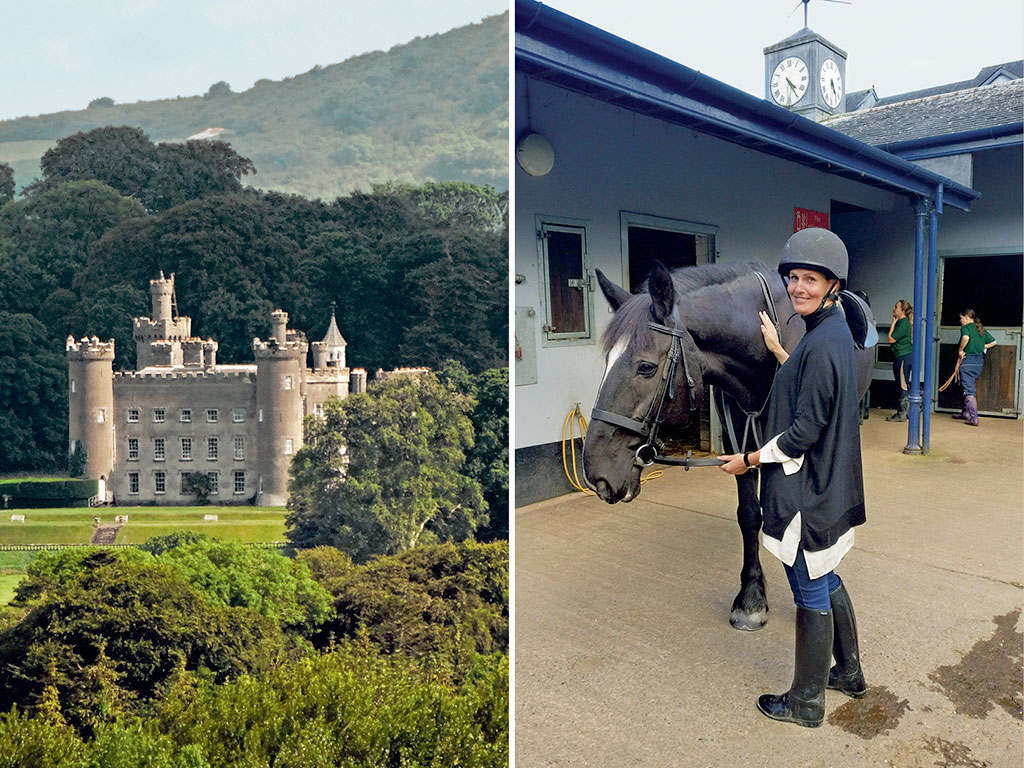 Castle Leslie is known for its Equestrian Centre where both beginners and experts can sign up for rides (right). Walking trails meander through the large grounds that surround Tullynally Castle, past trees planted by generations of Pakenhams (left). Photos by: Tourism Ireland (Tullynally Castle), Neha Dara (Horseriding)