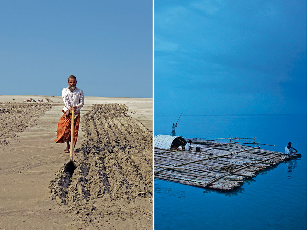 On sandbars along the river (left), some men cultivate peanuts. Erosion by the Jamuna has also left many along this route homeless, forcing them to head to islands (right) nearby for a home. Photos by: Samrat (man), NurPhoto/Contributor/NurPhoto/Getty Images (raft).