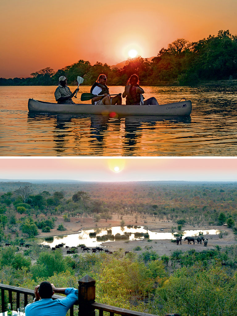 The best way to navigate the park is through canoe rides (top) along the Zambezi River. There is also a high density of pachyderms (bottom) here, drinking at watering holes and on the move. Photos by: Nigel Pavitt/AWL Images/Getty Images (canoe), Luis Davilla/Photolibrary/Getty Images (elephants)