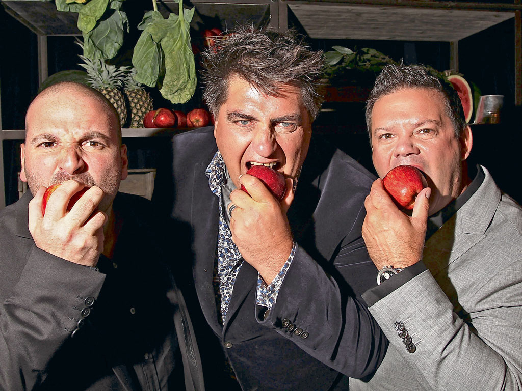 Gary Mehigan with Masterchef Australia co-hosts George Calombaris and Matt Preston. Photo by: Graham Denholm/Stringer/Getty Images