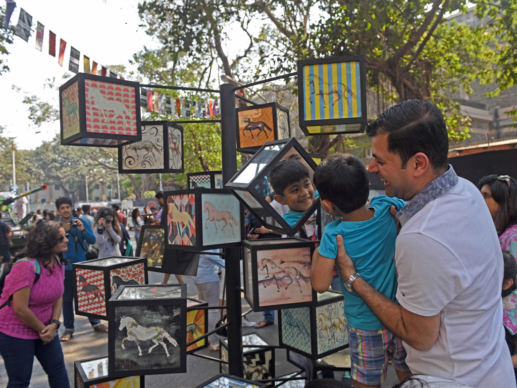 Kala Ghoda Arts Festival hosts a number of workshops, food stalls, dance and music performances alongside panel discussions featuring art stalwarts from the industry. Photo by: Hindustan Times/Contributor/Getty Images