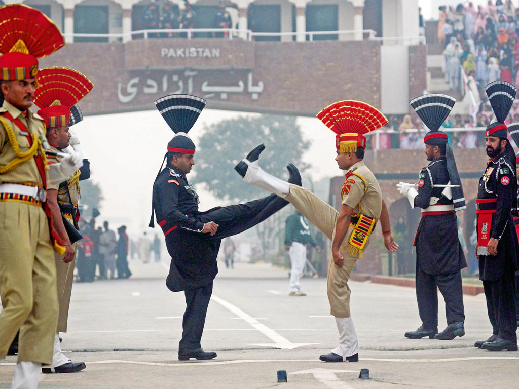 The charged ceremony at Wagah Border is a major draw for travellers to Amritsar. Photo by: Narinder Nanu/Contributor/AFP/Getty Images