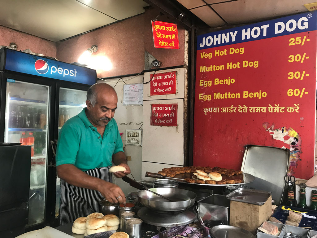 Johnny Hot Dog is a local institution at '56 Dukaan', Indore's feast street.
