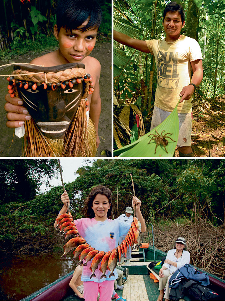 Expeditions into the Amazon are deep immersions into its way of life. Photo ops with tarantulas are guaranteed by Jorge, an expert tracker (top right). Some days start by fishing for savage piranhas (bottom), and end with buying handicrafts (top left) made by the local Cucama community. Photo by: Sergi Reboredo/age fotostock/dinodia photo library (handicraft), Photo Courtesy: Jungle Experiences/Amazon River Cruises (piranhas), Kareena Gianani (tarantula)