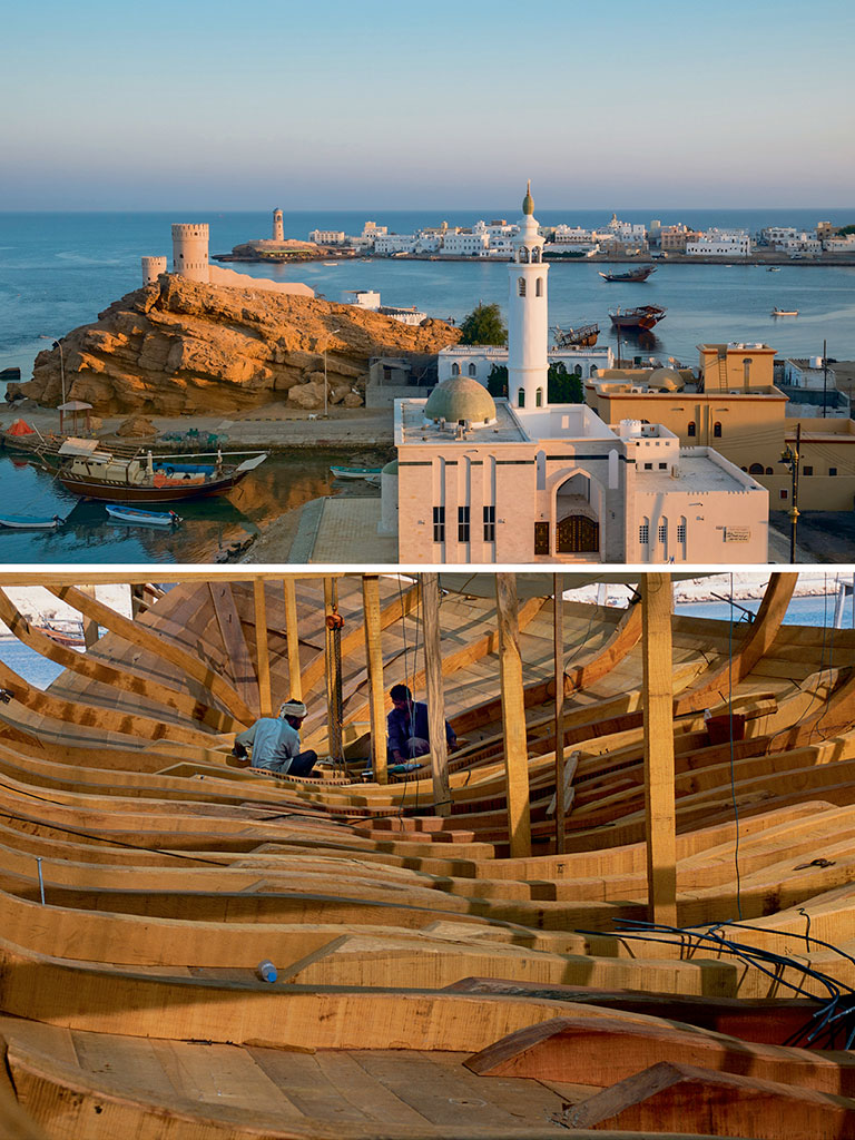 A historic trading port, Sur (top) has a centuries old boatyard (bottom) from where dhows have sailed to as far as China. Photo by: Guiziou Franck/hemis.fr/Getty Images (town), John Warburton-Lee/Getty Images (ship)