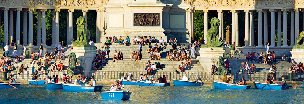 The Buen Retiro Park, one of Madrid's largest green spaces is home to countless walking tracks, picnic spots, a lake, and even buskers. Photo Courtesy: Madrid Destino Cultura Turismo Y Negocio, S.A. available at www.esmadrid.com
