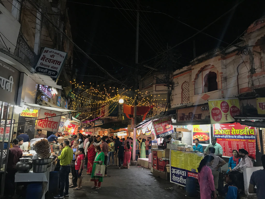 The bustling business hub of Sarafa Bazaar in Indore morphs into an open-air food court every evening.
