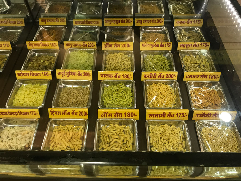 Apna Dukaan in Indore stocks a wide variety of sev or besan-based savouries.