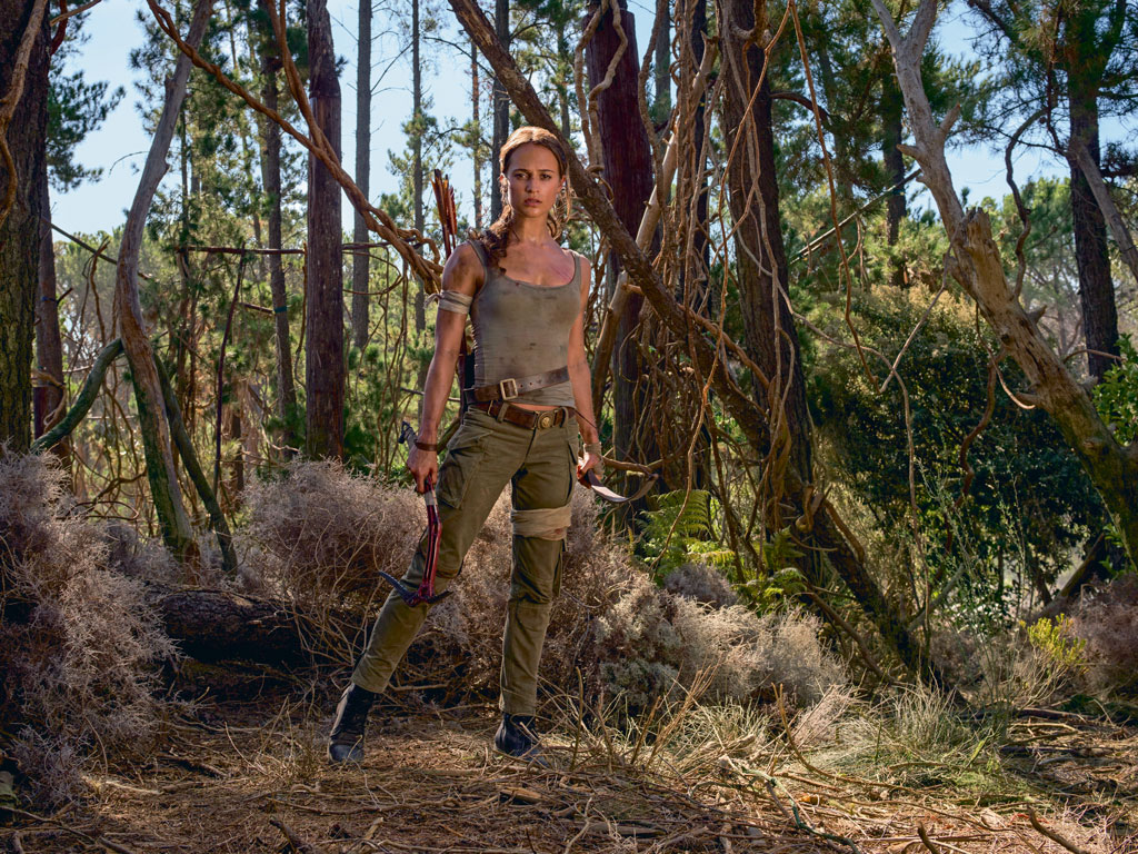A still from Tomb Raider with actress Alicia Vikander as Lara Croft.