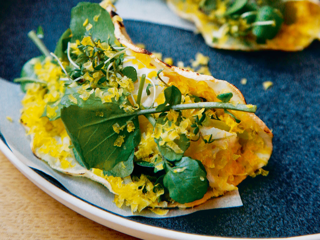 Tacos with cress and dried egg yolk, Relae restaurant, Copenhagen. Photo by: Y.Levy/Alamy/indiapicture