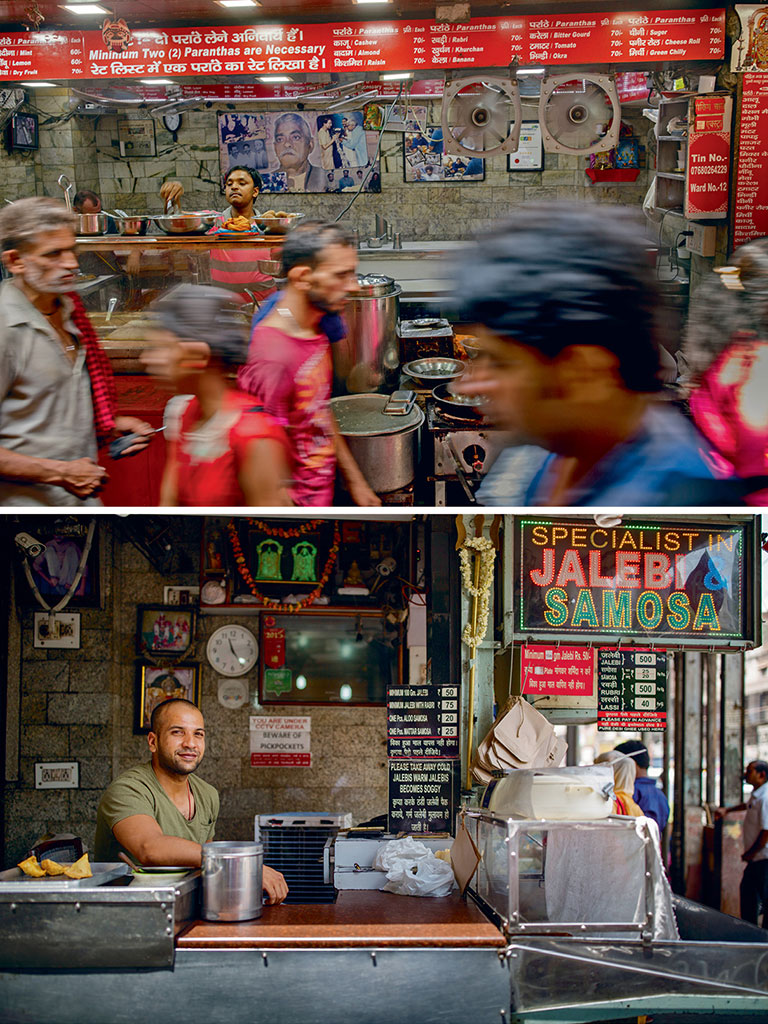 Shops at the Parathewali Gali (top) have been doing brisk business since the late 19th century; The crisp, orange jalebis that Old Famous Jalebi Wala (bottom) has been preparing since the 1880s, are believed to taste like no other.