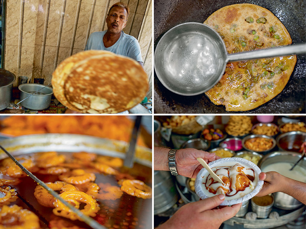 Shops at the Parathewali Gali offer the delicacy in every imaginable combination, be it the simple peas paratha, or banana-and-rabdi (top left and right); At Chawri Bazaar and Dariba Kalan, sheer indulgence awaits the hungry traveller: jalebis ooze with syrupy goodness, and chaat at Ashok Chaat Corner is served with yogurt and sweet-and-spicy tamarind chutney (bottom left and right).
