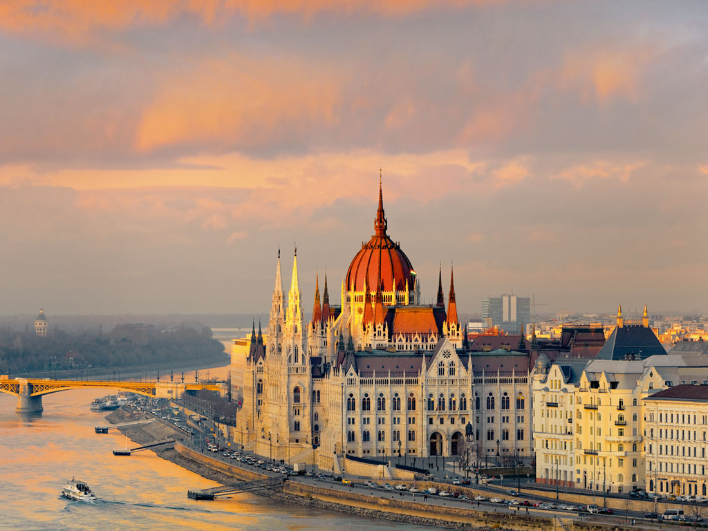 The Hungarian Parliament building's neo-Gothic architecture stands out on the Danube. Photo by: Jon Hicks/The Image Bank/Getty Images