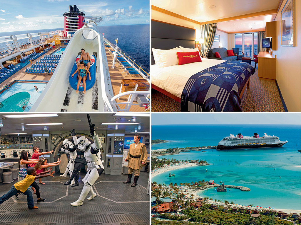 Though most passengers queue up for the AquaDuck water ride by day, gliding above the Atlantic Ocean at dusk is a surreal experience (top left); Staterooms with verandahs (top right) offer lovely views of the ocean. But it is worth spending days sparring with Storm Troopers (bottom left) in the entertainment areas, or bumming by the beach at Castaway Cay (bottom right). Photos Courtesy: Disney Cruise Line