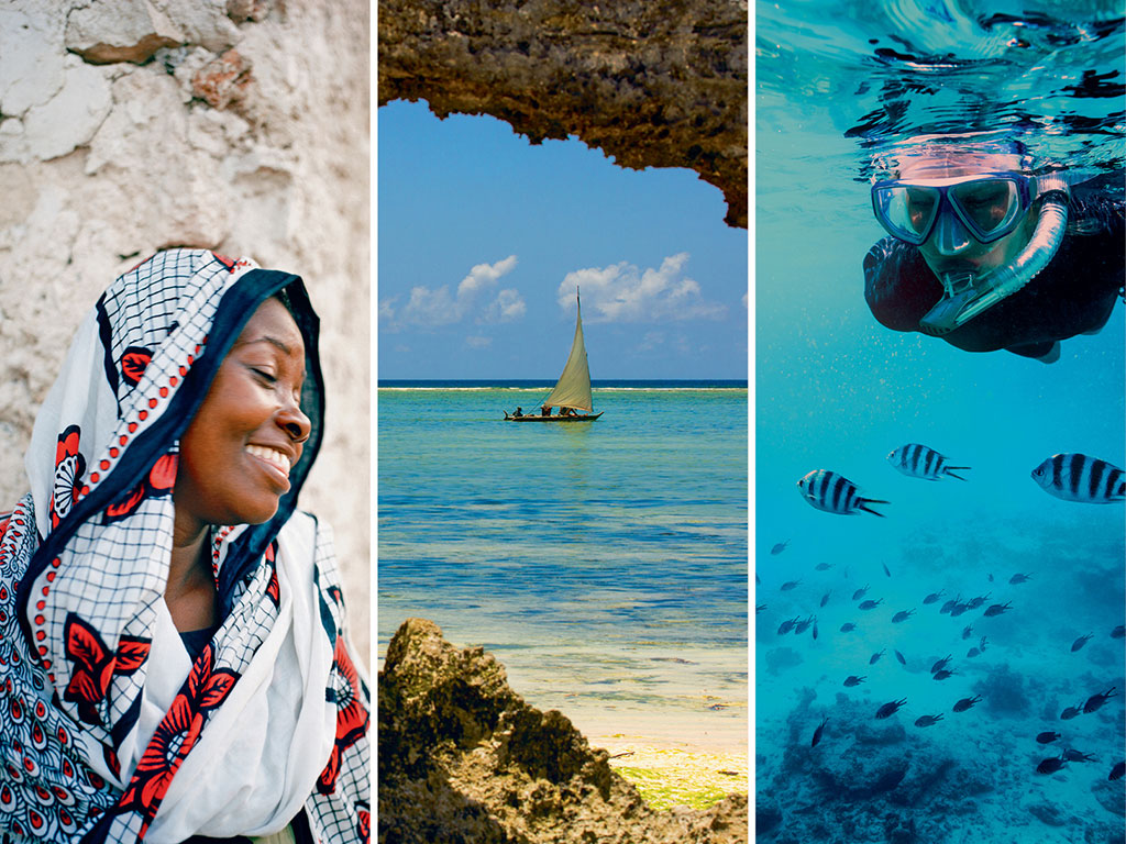 Women in Zanzibar traditionally wear a kanga or cotton wrap, often with Ankara prints, a common East African style of wax printing (left); Dhows dotting the archipelago's waters (middle) are built in the Nungwi area; A popular diving destination, Zanzibar is home to over 350 fish species (right). Photos by: Hauke Dressler/LOOK-Foto/Getty Images (Woman), Danm/Getty Images (Boat), Borchee/Getty Images (Diver)