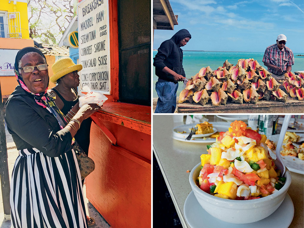 The real Bahamian surprise however is its capital Nassau, where conch meat (top and bottom right) is a delicacy and makes for life-affirming salad. Residents like Anita Butler (left) are always up for a friendly chat about Nassau of the '70s. Photos by: Kareena Gianani.