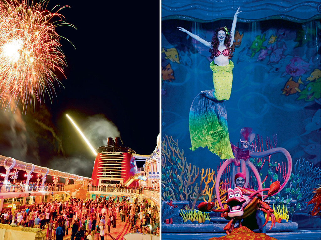 For evening entertainment, guests aboard the Disney Dream choose from musicals (right), nights of fireworks (left), and pirate parties on deck. Photos Courtesy: Disney Cruise Line