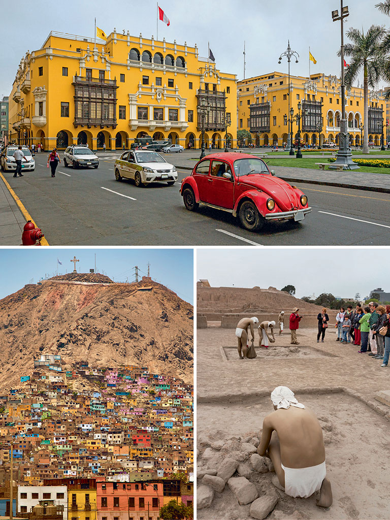 Lima's eight-armed Plaza Mayor (top) is all about colonial charm and old sangucherias (sandwich shops). The hill of San Cristobal (bottom left) is the city's perfect lookout, and the 1,500-year-old Huaca Pucllana (bottom right) an open-air repository of pre-Incan history. Photos by: Artie Photography (Artie Ng)/Getty images (cars), MediaProduction/Getty images (hill), Graham Prentice/indiapicture (historical site)