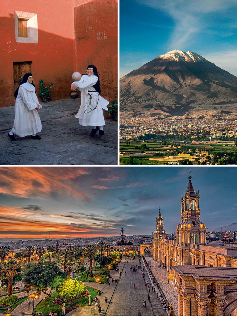 A tour of Arequipa's Monasterio de Santa Catalina (top left) provides a poignant glimpse into the life of nuns who lived here in the 16th century; The Misti volcano provides a stunning backdrop (top right) to most spots in the city, including the main square, Plaza de Armas (bottom). Photos by: Melissa Farlow/Dinodia Photo Library (Nuns), Zoonar/Jiri Vondrous/Dinodia Photo Library (Volcano), Flavio Huamani/Shutterstock (Plaza)