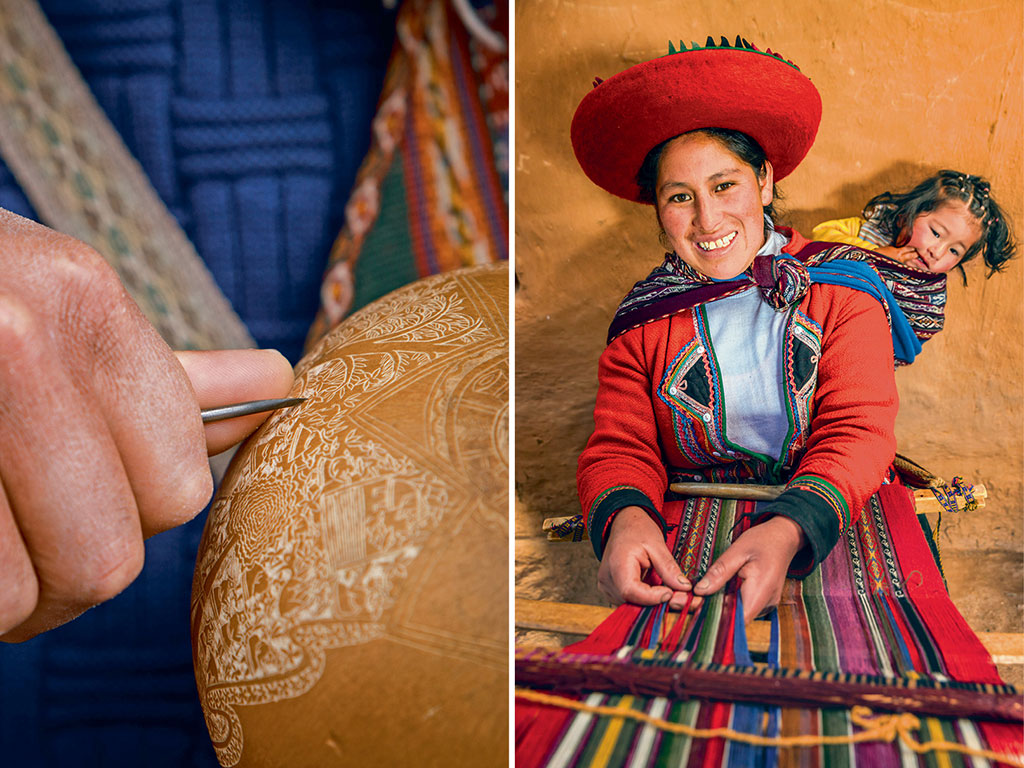 Traditional gourd carving (left); A Quechua weaver (right). Photos by: Kelly Cheng Travel Photography/Getty Images, Hadynyah/Getty Images