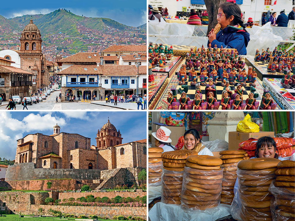Clockwise from top: Downtown Cuzco; San Blas market, Cuzco; San Pedro market, Cuzco; Qoricancha, Cuzco. Photos by: Elojotorpe/Getty Images, Kareena Gianani, Charles O. Cecil/Dinodia Photo Library, Kristian Peetz/Indiapicture
