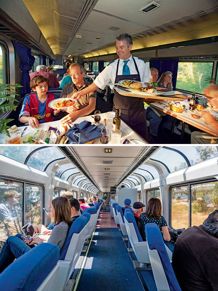 The dining car is perhaps the most lively place to be in on the train. Here's where conversations with co-passengers are struck over hearty meals.; Admiring sunflower fields and snow-clad mountains through giant glass windows at the Observation Deck is almost therapeutic. Photo by: Jim West/imageBROKER/dinodia photo library (food), Nigel Killeen/Getty images (passengers)
