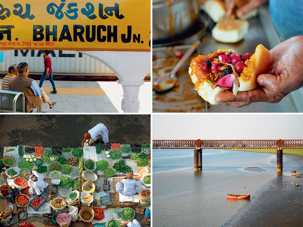 Dabeli, a sweet savoury snack (top right), is a popular street food in Bharuch, and sells like hot cakes both inside and outside the city's railway junction (top left). Vegetable vendors (bottom left) crowd the streets of this vegetarian city embarking the Narmada (bottom right). Photos by:  Zac O'Yeah (Station) Dinodia Photo Library (Dabeli and Market), Priti Bhatt/Moment Open/ Getty Images (Narmada)