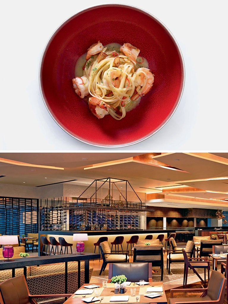"The prawn and chilli linguini (top) is now a celebrated fixture on the threesixty° menu; The Oberoi's coffee shop, threesixty° (bottom), was dubbed the ""drawing room of Delhi."" Photos Courtesy: Oberoi Hotels & Resorts"
