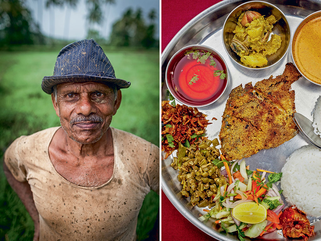 A cheery Goan farmer (left) takes a break from ploughing his paddy patch; Panoramic views of paddy fields can also be enjoyed while savouring a fish thali (right) at Vinayak Family Restaurant.